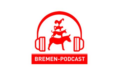 Ein Logo in rot und weiß zeigt die Stadtmusikanten, die von einem großen Kopfhörer umrahmt sind. Darunter die Aufschrift Bremen Podcast