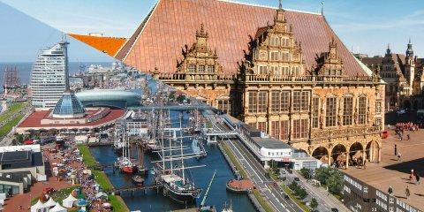 Collage aus Ansichten von Bremen und Bremerhaven