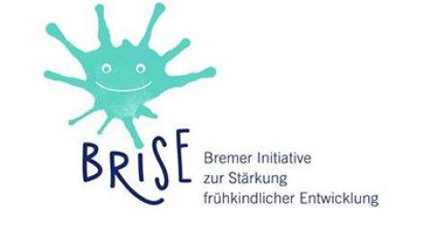 Grafische Darstellung eines lächelnden blauen Farbklekses und Schriftzug: BRISE - Bremer Initiative zur Stärkung der frühkindlichen Entwicklung