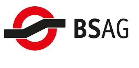 """Logo der BSAG: Ein Kreis wird von einem Streifen durchtrennt. Daneben Schriftzug """"BSAG"""""""