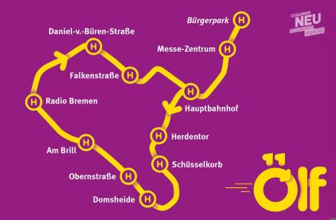 Zu sehen ist das Streckennetz der neuen Straßenbahnline elf der BSAG.