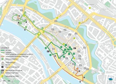 Karte mit allen Stationen des barrierefreien Stadtrundgang Altstadt & Stephani