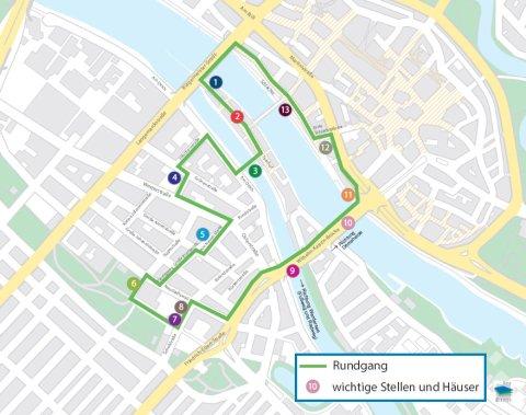 Kartenausschnitt zeigt die Stadtionen des Stadtrundganges durch die Neustadt in Leichter Sprache