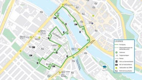 Karte Neustadtrundweg Bremen - bunt und grün