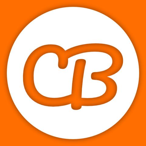 Logo Couchbummel, weißes C und B auf orangem Grund