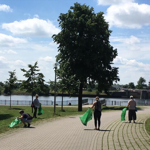 Vier Personen mit grünen Müllsäcken sammeln Müll am Hastedter Deich auf.