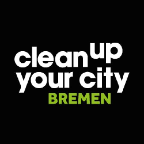 Der Schriftzug clean up your city Bremen auf schwarzem Grund