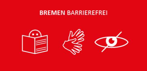 """Grafik mit dem Schriftzug """"Bremen barrierefrei"""", zwei Händen in Bewegung und einem lesenden Männchen."""