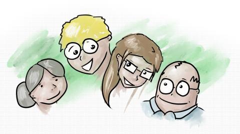 Vier bunte, gezeichnete Comicfiguren unterschiedlichen Alters