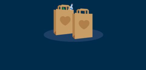 Grafik mit zwei gefüllten Einkaufstüten. Auf den Tüten ist jeweils ein großes Herz zu sehen.