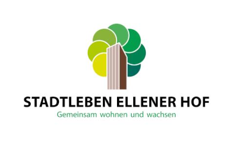 Logo des Projekts Stadtleben Ellener Hof zeigt einen abstrakt dargestellen Baum und den Schriftzug Stadtleben Ellener Hof Gemeinsam wohnen und wachsen
