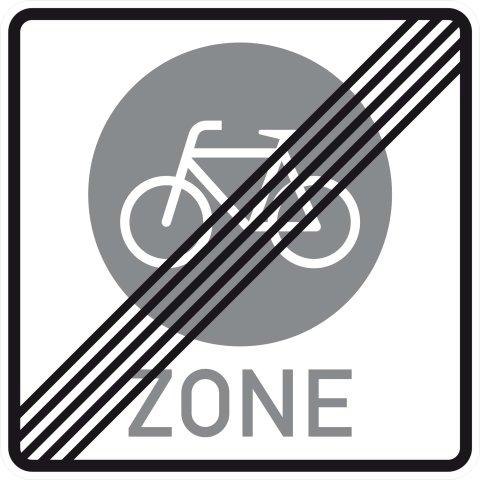 """Ein eckiges Verkehrsschild mit durchgestrichenem weißen Fahrrad auf grauem Kreis und Beschriftung """"Zone"""" weist das Ende einer Fahrradzone aus"""
