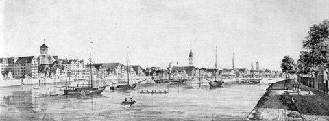 Eine Zeichnung der Stadt Bremen und der Weser.