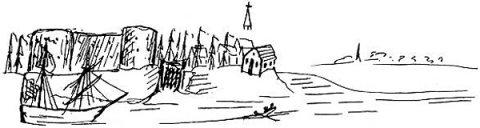 Eine Zeichnung von Bremerhaven von Friedrich Engels. Zu sehen sind ein Schiff, Bäume und Häuser.