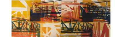 Linolschnitt, Ölfarbe auf Leinwand