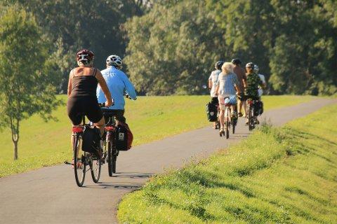 Fahrradfahrer auf dem Habenhauser Deich