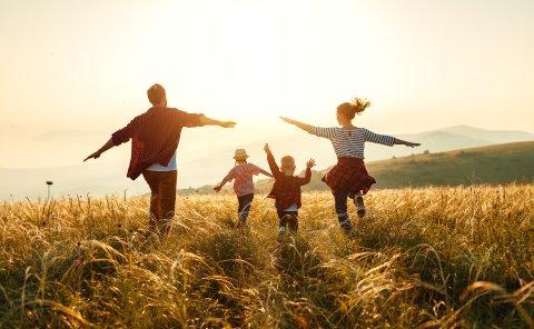 Zwei Erwachsene laufen mit zwei Kindern bei Sonnenuntergang über eine Wiese