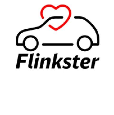Umriss eines Autos mit einem Herz und der Unterschrift Flinkster