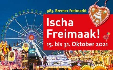 Ein Werbebanner für den Bremer Freimarkt