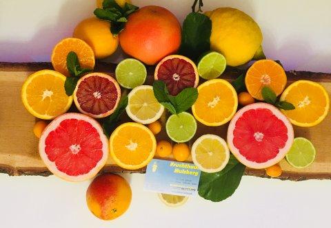 Die Ansicht von oben auf aufgeschnittene Zitrusfrüchte, die auf einem Baumstamm liegen.