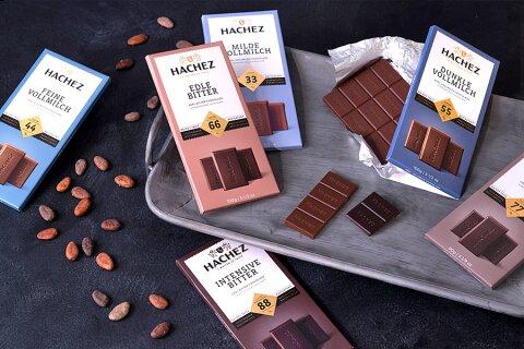Diverse Sorten von Hachez-Schokolade