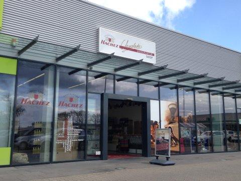 Blick auf den Hachez Manufaktur Shop in Bremen Brinkum