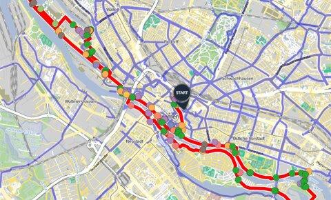 Rot eingezeichnete Fahrradroute durch Bremen auf einem Ausschnitt einer Landkarte von Bremen.