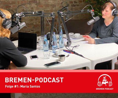 Blick ins Podcast-Studio auf Gesprächsgast Maria Santos