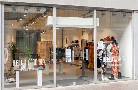 """Außenansicht des Second-Hand-Shops """"Hello Good Buy"""" in der Obernstraße."""
