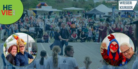 """Die Veranstaltung """"HEVIE"""" - Hemelinger Vielfalt. In der Mitte sieht man ein Mann und eine Frau. Sie tanzen gemeinsam auf einer Bühne. Drum herum stehen vielen Menschen. Links und rechts sind kleine runde Bilder mit verkleideten Menschen zu sehen."""