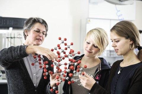 Eine Frau und zwei Schülerinnen betrachten ein Molekül-Modell