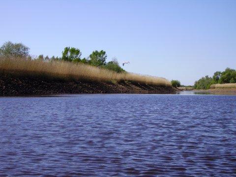Blick auf die Weser aus einem Kanu