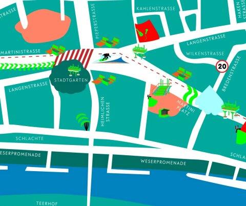 Bunt illustrierter Lageplan des Erlebnisraum Martinistraße.