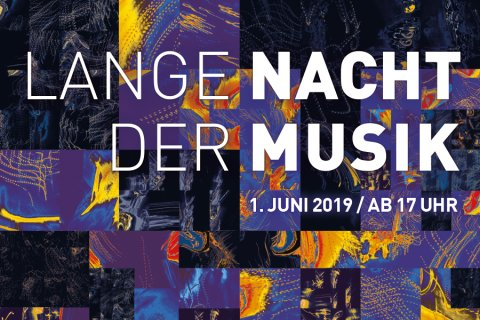 Banner mit abstraktem Muster und Ankündigung für die Lange Nacht der Musik