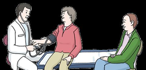 Zeichnung von einer älteren Frau in Begleitung bei einem Arzt.