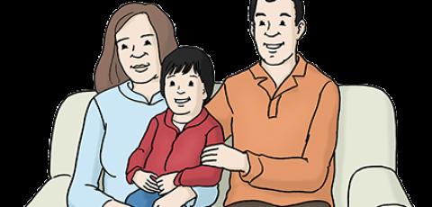 Zeichnung von zwei Eltern mit einem Kind.