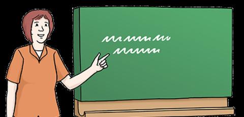 Zeichnung von einer Lehrerin an der Tafel.