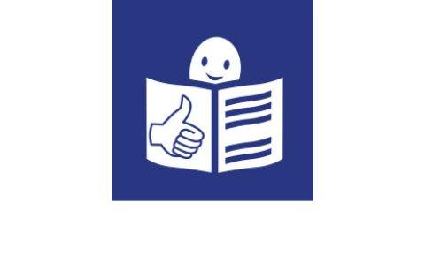 Das Logo der Leichten Sprache: Weiße Grafik auf blauem Grund. Ein Männchen liest in einem Buch.