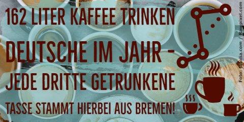 Kaffeefakt: 162 Liter Kaffee trinkt man in Deutschland durchschnittlich pro Jahr, und jede dritte Tasse kommt aus Bremen