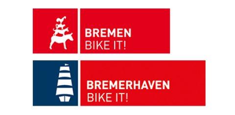 Rot-weißes BIKE IT! Logo für Bremen und Bremerhaven