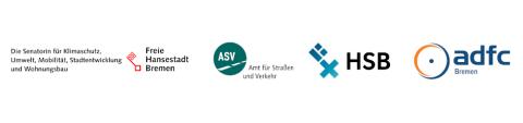 Logoübersicht Senatorin für Klimaschutz, Umwelt,Mobilität, Stadtentwicklung und Wohnungsbau, Amt für Straßen und Verkehrs, Hochschule Bremen und ADFC Bremen