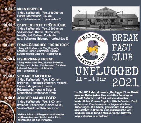 Die Frühstückskarte des Marina Breakfast Club.