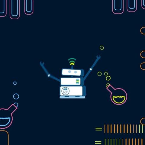 Ein gezeichneter Roboter im Labor
