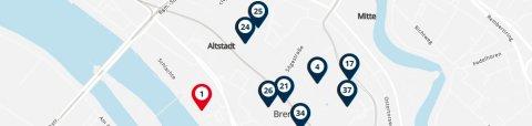 Ausschnitt einer OpenStreetMap-Karte mit Standorten barrierefreier Toiletten in Bremen.