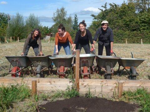 Drei Frauen und ein Mann stehen an sechs Schubkarren. Sie schütten gerade Erde über einen kleinen Holzzaun.