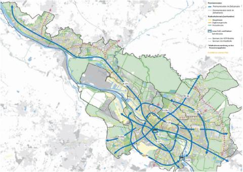 Premiumrouten Radverkehr Machbarkeitsstudie SKUMS 2017 - Übersichtskarte