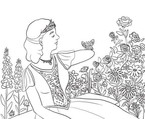 Ausschnitt eines Ausmalbildes der Bremer Künstlerin Lui Kohlmann. Die Zeichnung zeigt eine Prinzessin mit einem halben Arm, auf dem ein Schmetterling sitzt.