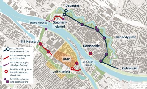 Das Bild zeigt einen Stadtplan von Bremen, in den die Umbaumaßnahmen und die Streckenführung des Projekts Wallring eingetragen sind