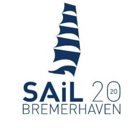Das Logo für die Sail Bremerhaven 2020 in blauen und weißen Farben.