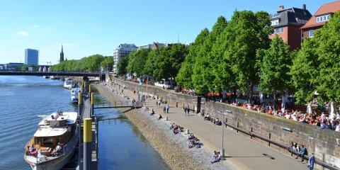 Das Schlachte-Ufer: links die Weser, rechts die Flanier-Meile; Quelle: bremen.online - MDR